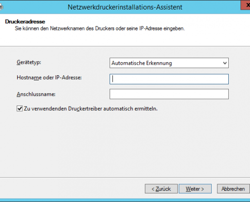 Druckerverinstallation IP-Address