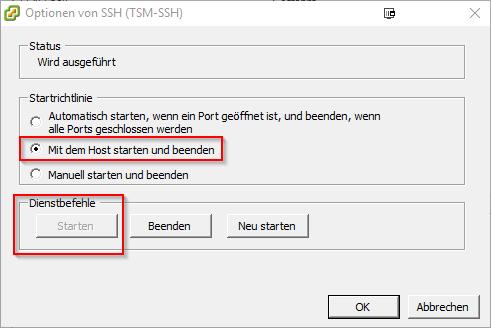 SSH-Daemon start options